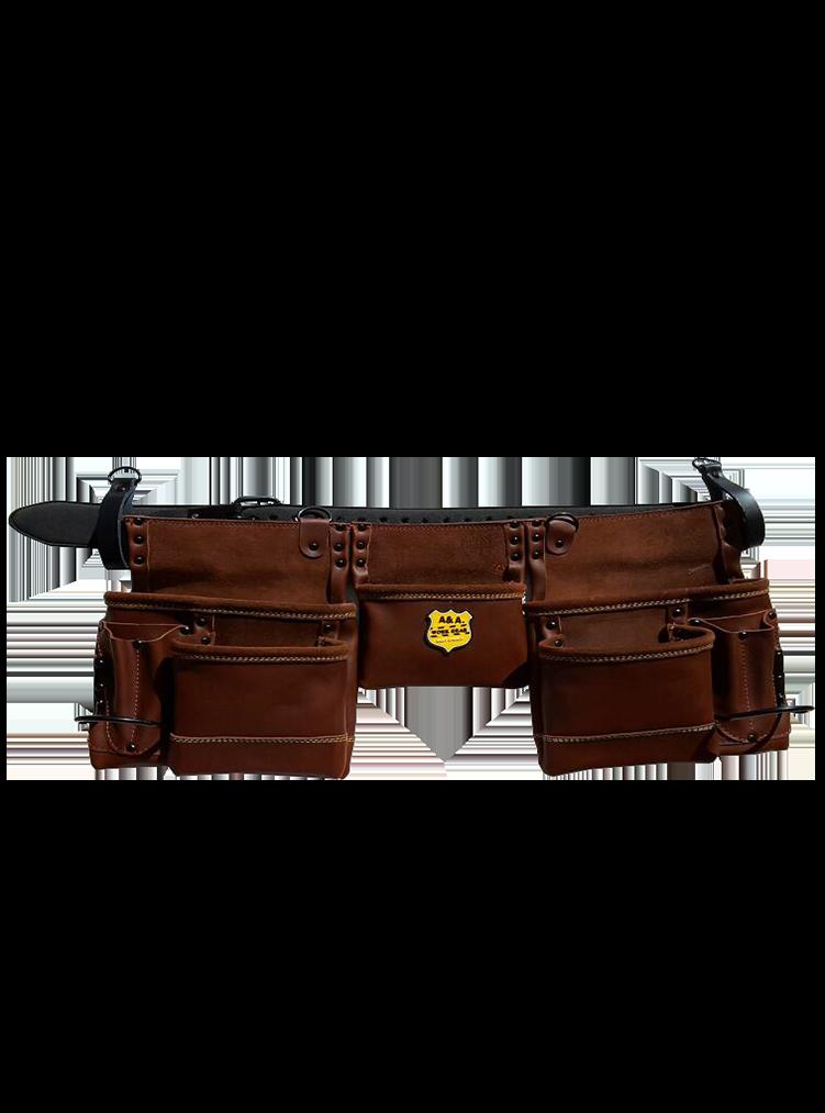 11 Fächer Werkzeugtasche mit Gürtel aus Rindleder